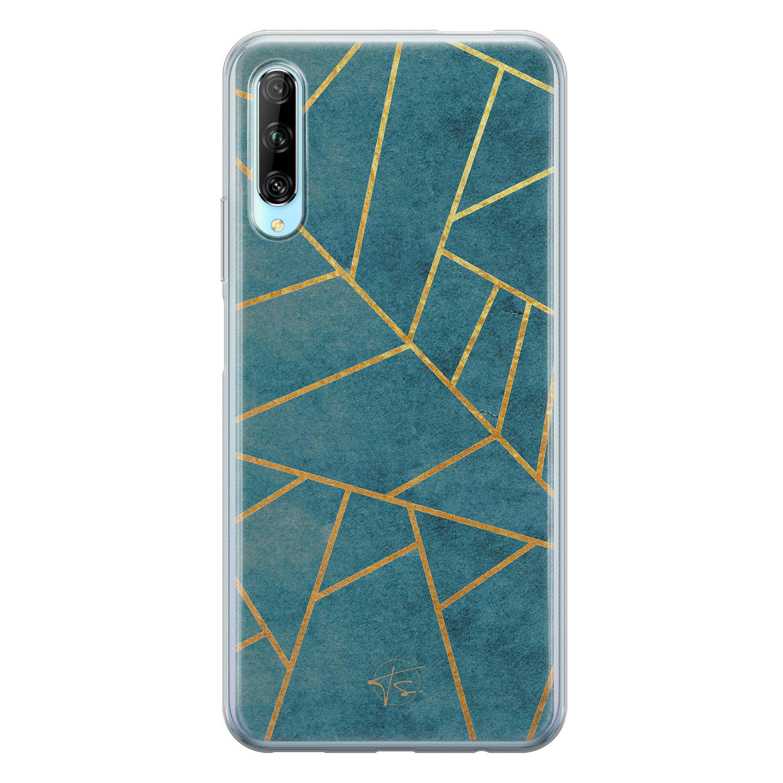Telefoonhoesje Store Huawei P Smart Pro siliconen hoesje - Abstract blauw