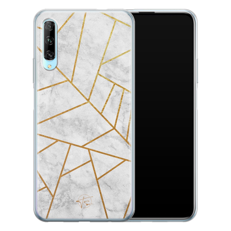 Telefoonhoesje Store Huawei P Smart Pro siliconen hoesje - Geometrisch marmer