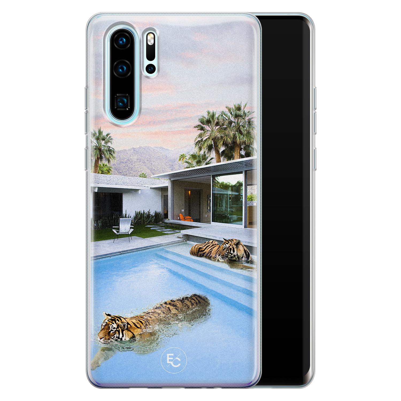 ELLECHIQ Huawei P30 Pro siliconen hoesje - Tiger pool
