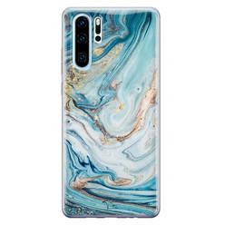 Telefoonhoesje Store Huawei P30 Pro siliconen hoesje - Marmer blauw goud
