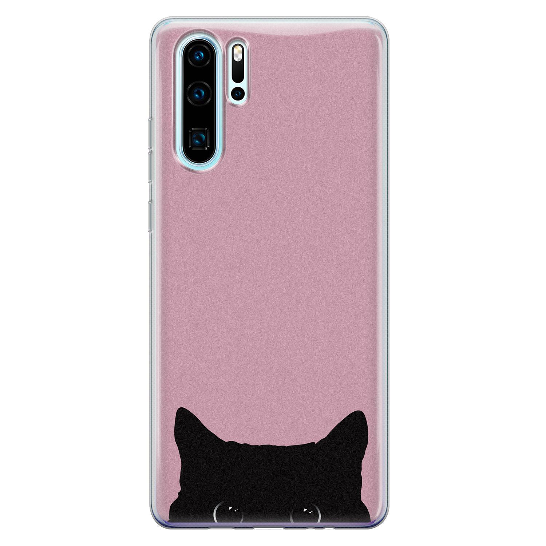 Telefoonhoesje Store Huawei P30 Pro siliconen hoesje - Zwarte kat