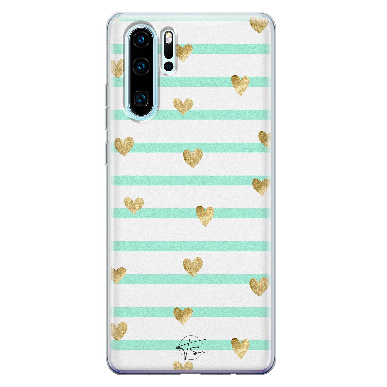 Telefoonhoesje Store Huawei P30 Pro siliconen hoesje - Mint hartjes