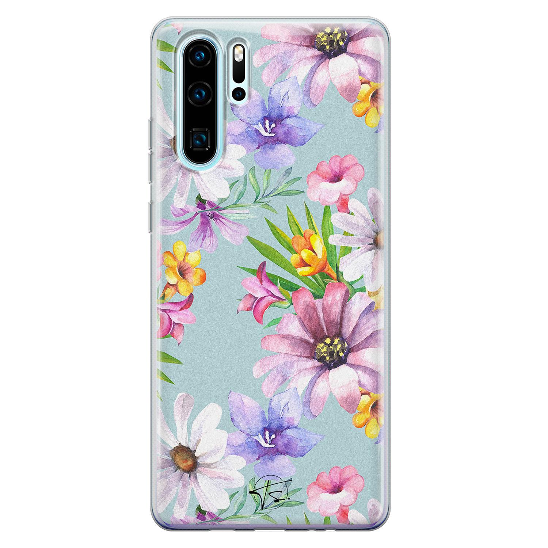 Telefoonhoesje Store Huawei P30 Pro siliconen hoesje - Mint bloemen