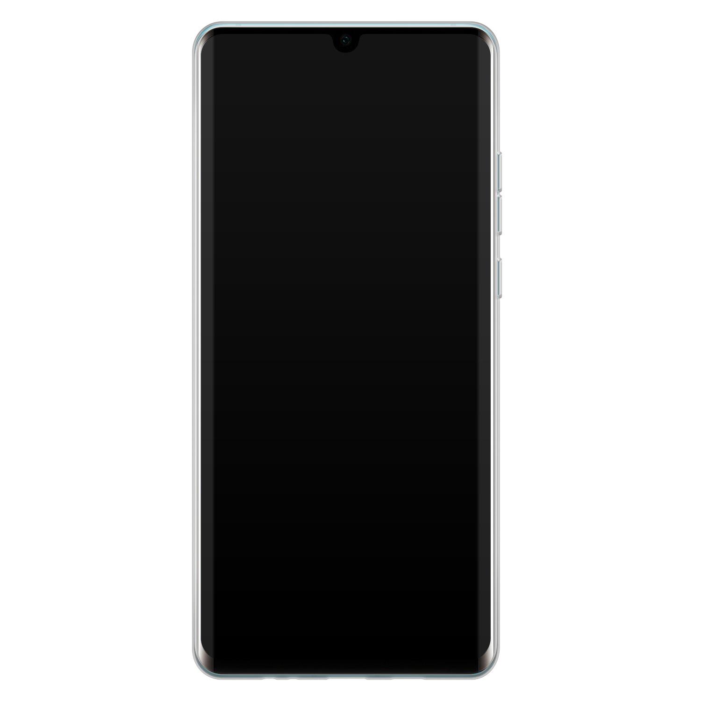 Leuke Telefoonhoesjes Huawei P30 Pro siliconen hoesje - Abstract gezicht lijnen