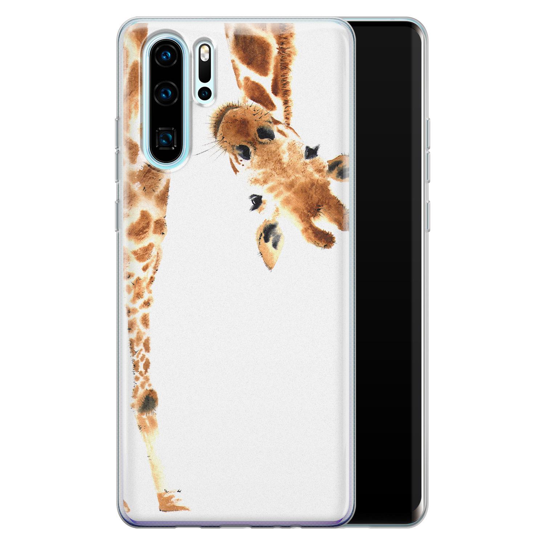 Leuke Telefoonhoesjes Huawei P30 Pro siliconen hoesje - Giraffe peekaboo