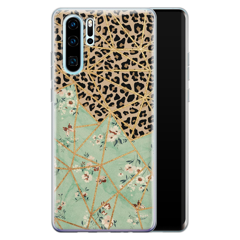 Leuke Telefoonhoesjes Huawei P30 Pro siliconen hoesje - Luipaard flower print