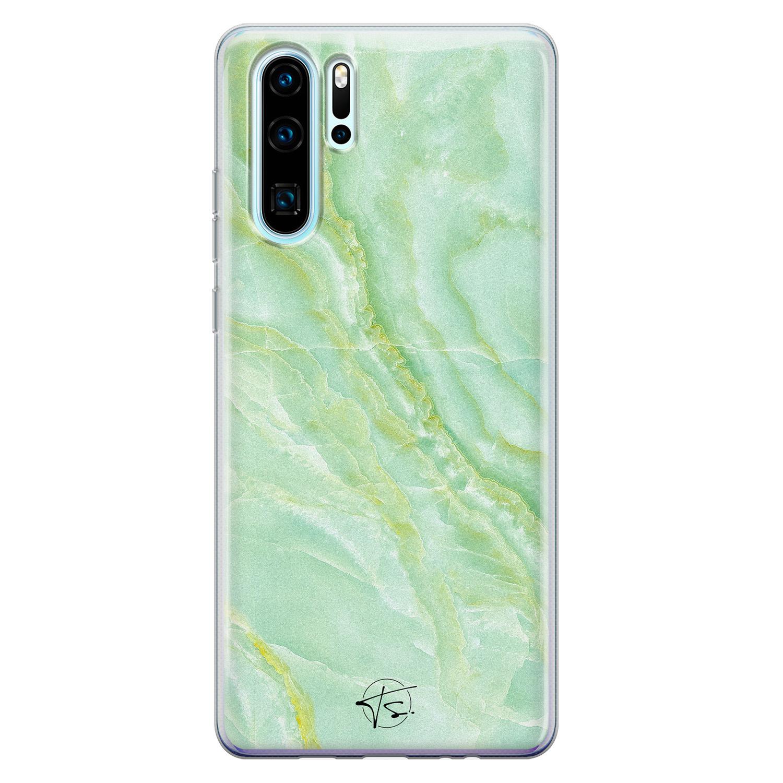 Telefoonhoesje Store Huawei P30 Pro siliconen hoesje - Marmer Limegroen
