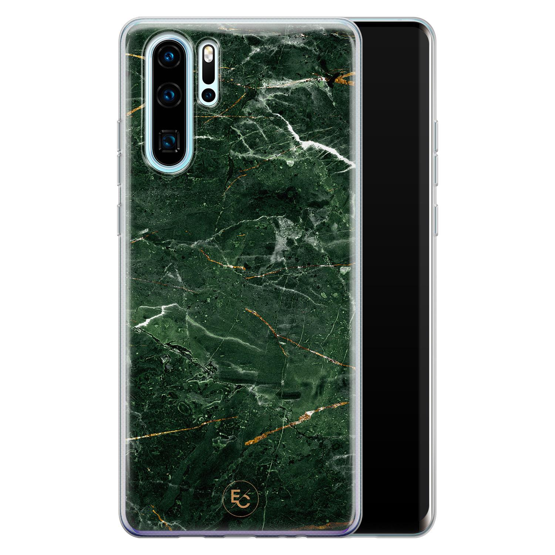 ELLECHIQ Huawei P30 Pro siliconen hoesje - Marble jade green