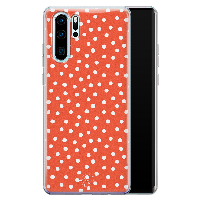 Telefoonhoesje Store Huawei P30 Pro siliconen hoesje - Orange dots