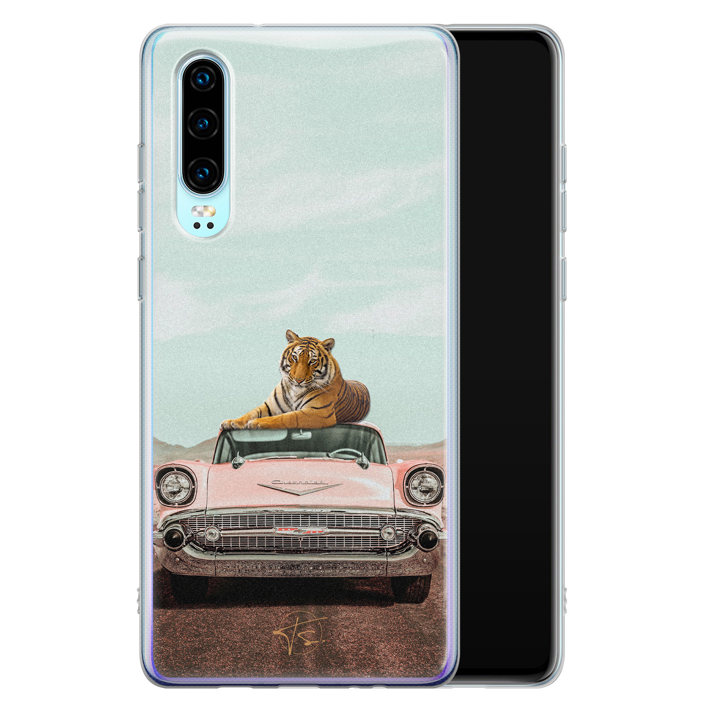 Telefoonhoesje Store Huawei P30 siliconen hoesje - Chill tijger