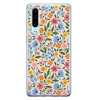 Telefoonhoesje Store Huawei P30 siliconen hoesje - Romantische bloemen