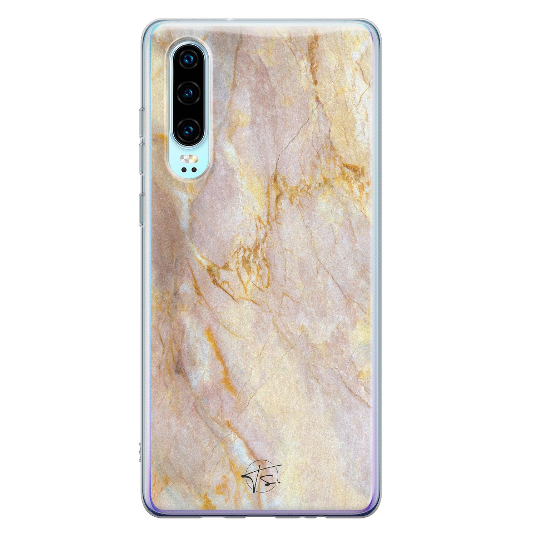 ELLECHIQ Huawei P30 siliconen hoesje - Stay Golden Marble