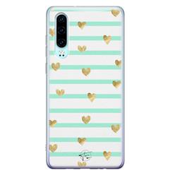 Telefoonhoesje Store Huawei P30 siliconen hoesje - Mint hartjes