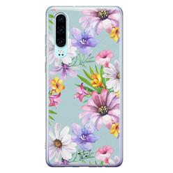 Telefoonhoesje Store Huawei P30 siliconen hoesje - Mint bloemen