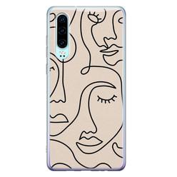 Leuke Telefoonhoesjes Huawei P30 siliconen hoesje - Abstract gezicht lijnen