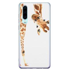 Leuke Telefoonhoesjes Huawei P30 siliconen hoesje - Giraffe peekaboo