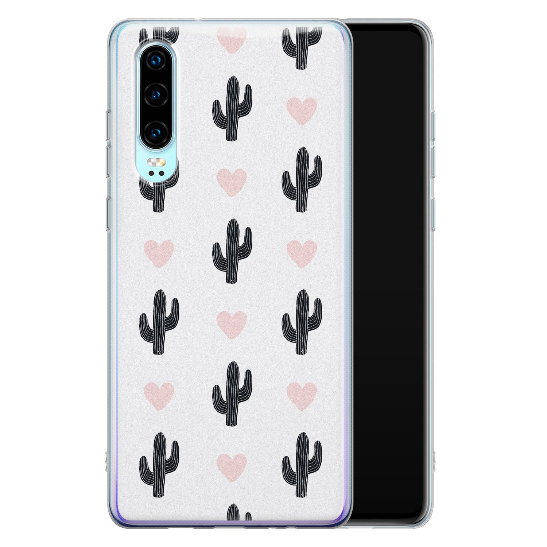 Leuke Telefoonhoesjes Huawei P30 siliconen hoesje - Cactus love