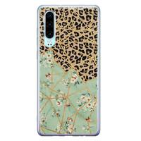 Leuke Telefoonhoesjes Huawei P30 siliconen hoesje - Luipaard flower print