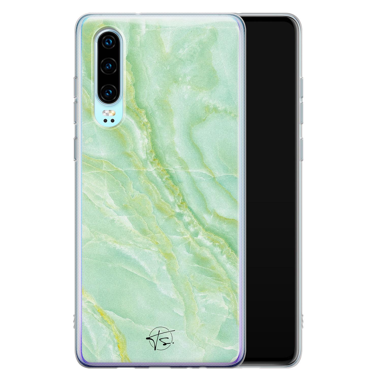 Telefoonhoesje Store Huawei P30 siliconen hoesje - Marmer Limegroen