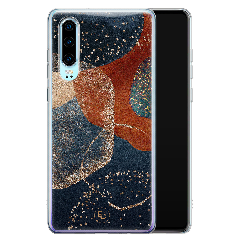 ELLECHIQ Huawei P30 siliconen hoesje - Abstract Terracotta