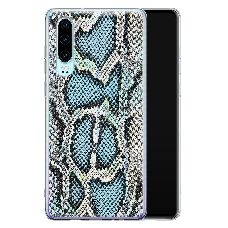 ELLECHIQ Huawei P30 siliconen hoesje - Baby Snake blue
