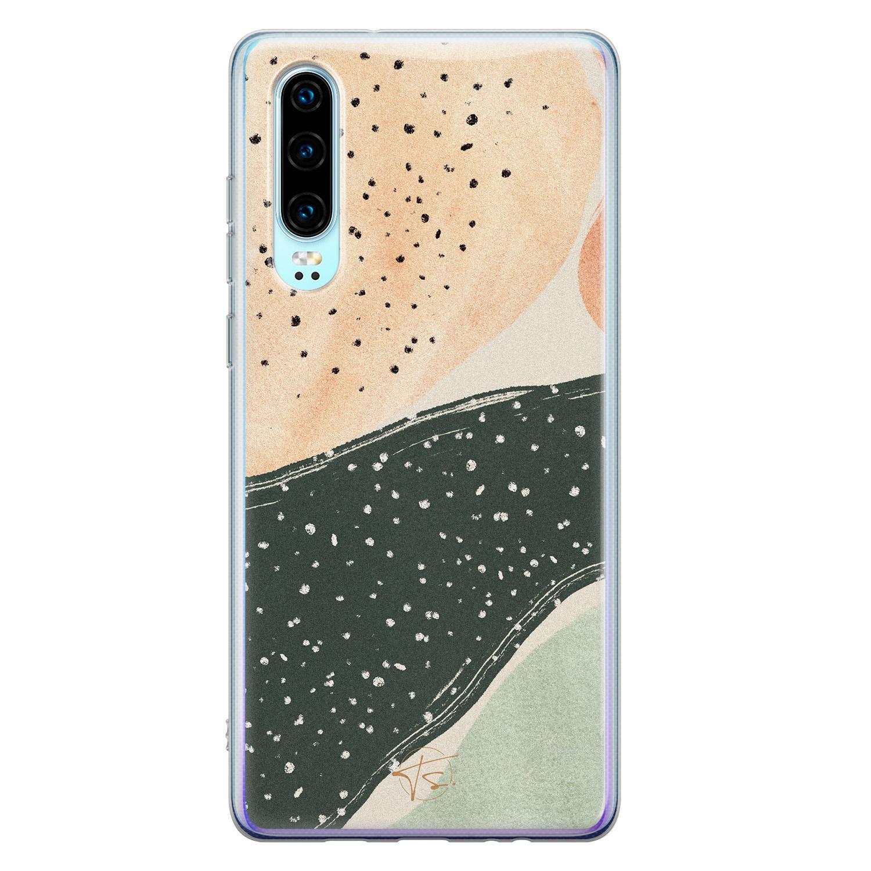 Telefoonhoesje Store Huawei P30 siliconen hoesje - Abstract peach