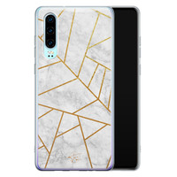 Telefoonhoesje Store Huawei P30 siliconen hoesje - Geometrisch marmer