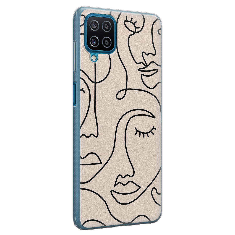 Leuke Telefoonhoesjes Samsung Galaxy A12 siliconen hoesje - Abstract gezicht lijnen