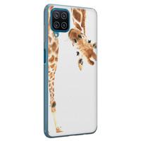 Leuke Telefoonhoesjes Samsung Galaxy A12 siliconen hoesje - Giraffe peekaboo