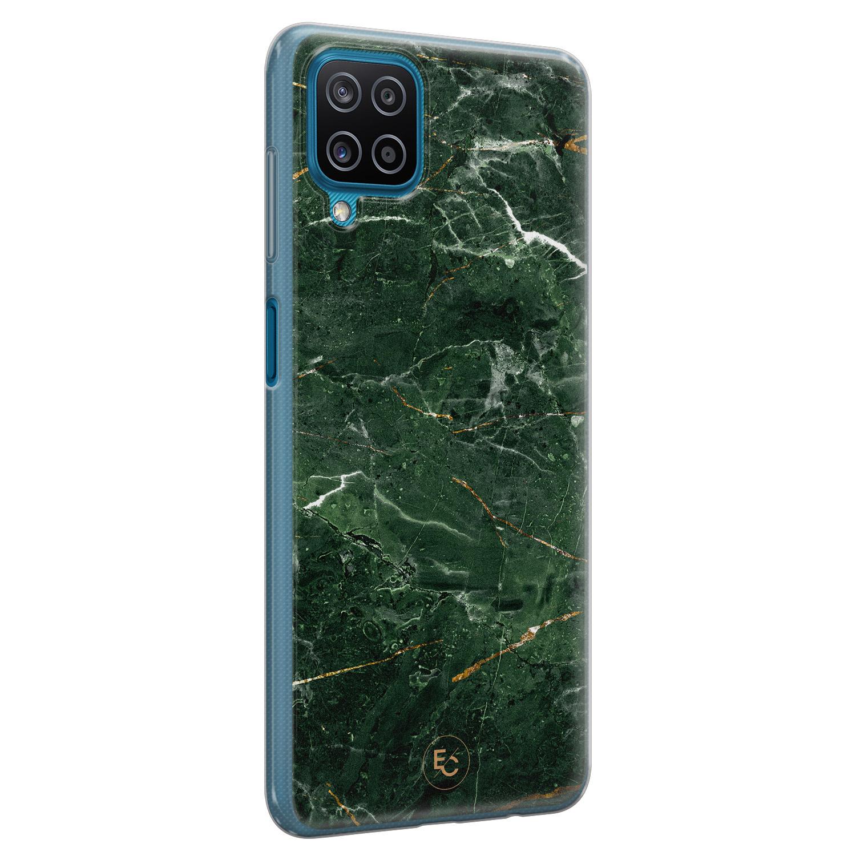 ELLECHIQ Samsung Galaxy A12 siliconen hoesje - Marble jade green