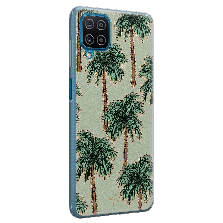 Telefoonhoesje Store Samsung Galaxy A12 siliconen hoesje - Palmbomen