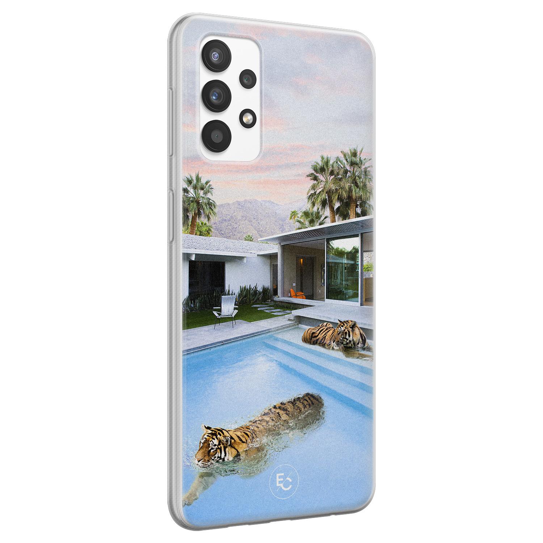 ELLECHIQ Samsung Galaxy A32 4G siliconen hoesje - Tiger pool