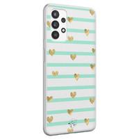 Telefoonhoesje Store Samsung Galaxy A32 4G siliconen hoesje - Mint hartjes
