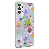 Telefoonhoesje Store Samsung Galaxy A32 4G siliconen hoesje - Mint bloemen