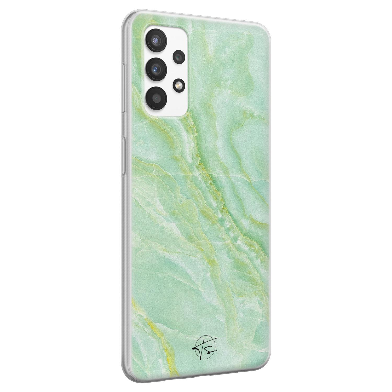 Telefoonhoesje Store Samsung Galaxy A32 4G siliconen hoesje - Marmer Limegroen