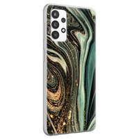 ELLECHIQ Samsung Galaxy A32 4G siliconen hoesje - Marble Khaki Swirl