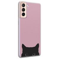 Telefoonhoesje Store Samsung Galaxy S21 siliconen hoesje - Zwarte kat