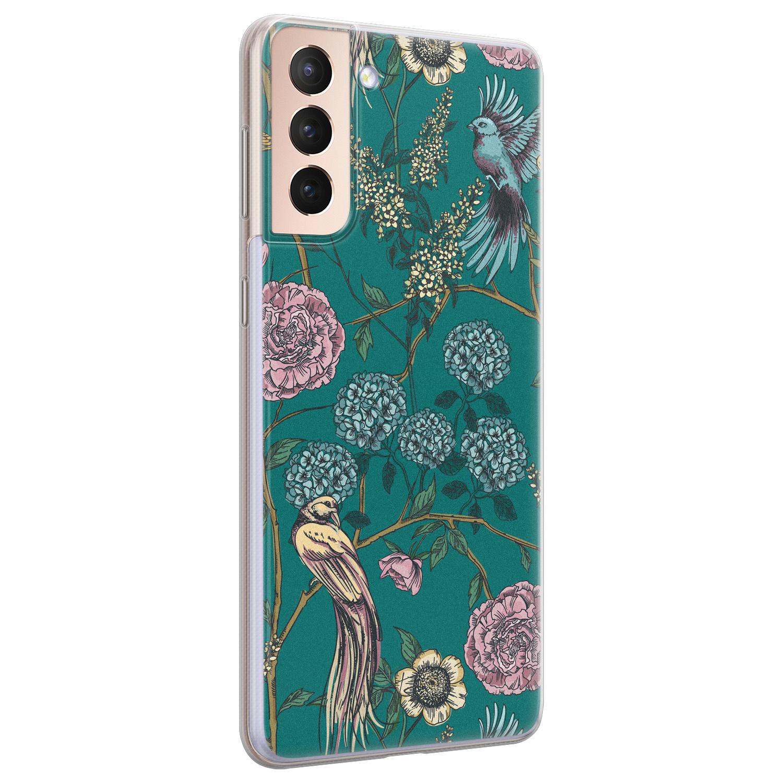 Telefoonhoesje Store Samsung Galaxy S21 siliconen hoesje - Bloomy birds