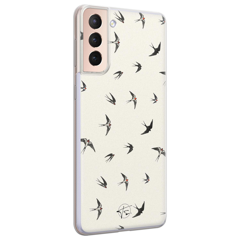 Telefoonhoesje Store Samsung Galaxy S21 siliconen hoesje - Freedom birds