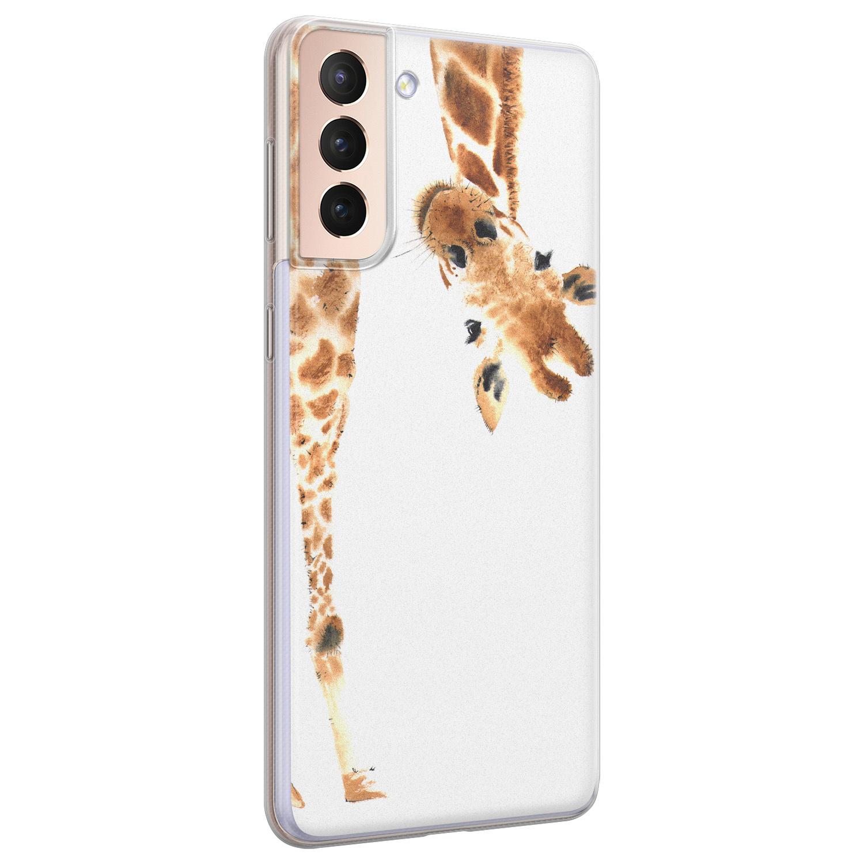 Leuke Telefoonhoesjes Samsung Galaxy S21 siliconen hoesje - Giraffe peekaboo