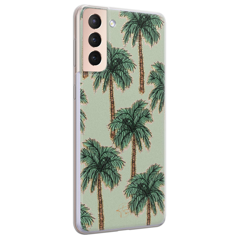 Telefoonhoesje Store Samsung Galaxy S21 siliconen hoesje - Palmbomen