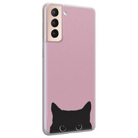 Telefoonhoesje Store Samsung Galaxy S21 Plus siliconen hoesje - Zwarte kat