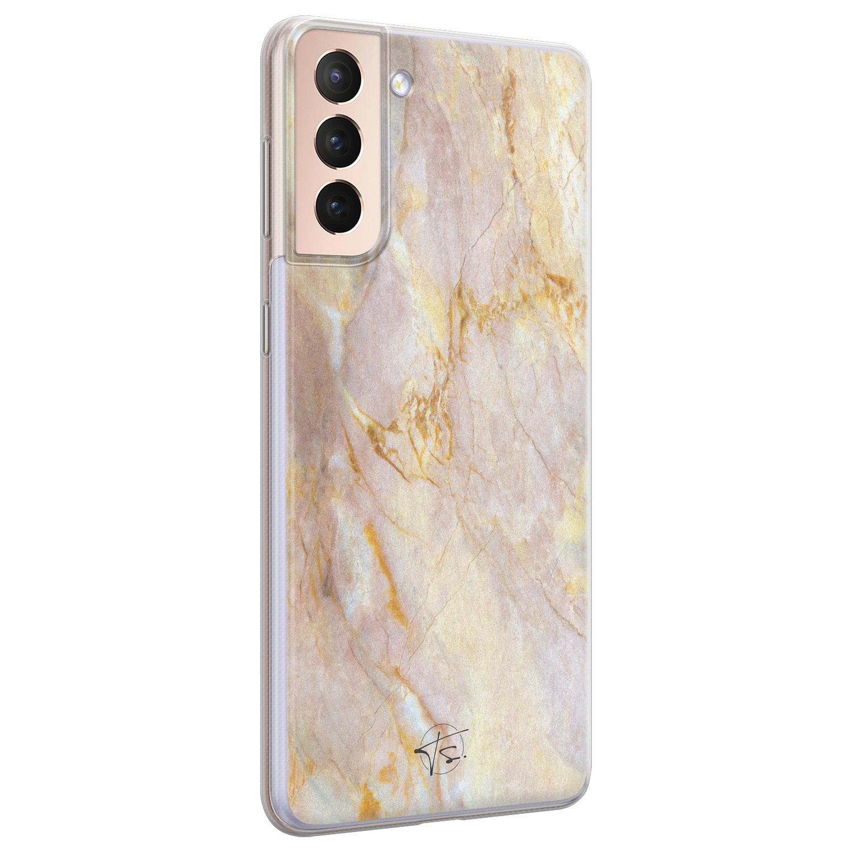 ELLECHIQ Samsung Galaxy S21 Plus siliconen hoesje - Stay Golden Marble