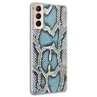 ELLECHIQ Samsung Galaxy S21 Plus siliconen hoesje - Baby Snake blue