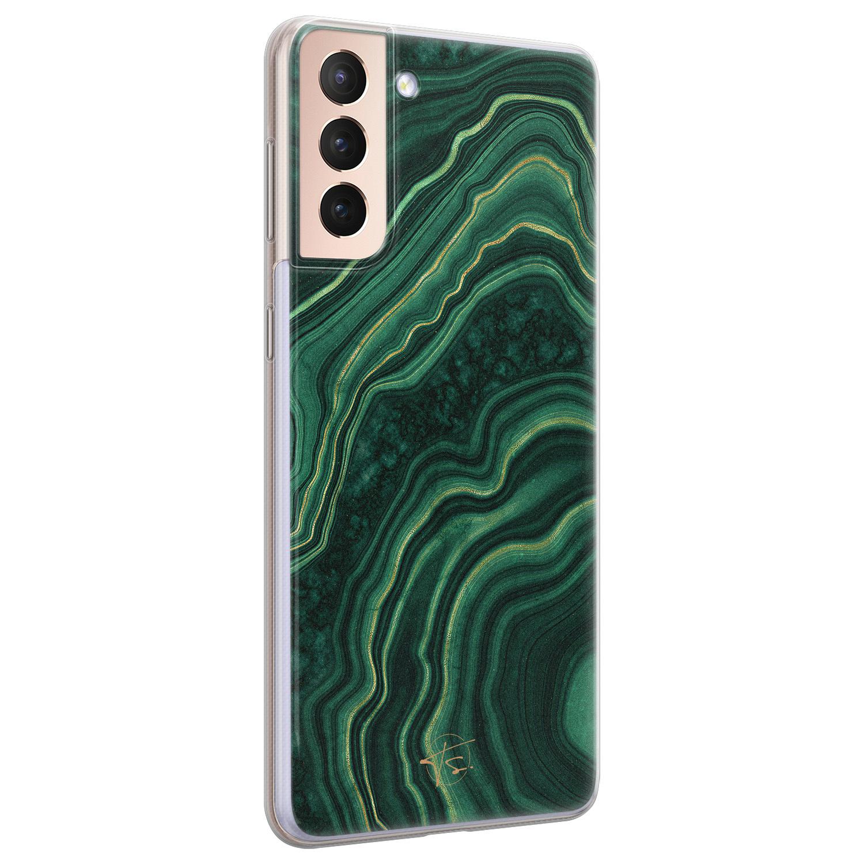 Telefoonhoesje Store Samsung Galaxy S21 Plus siliconen hoesje - Agate groen