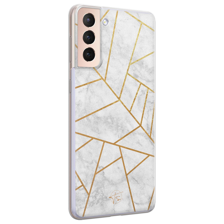 Telefoonhoesje Store Samsung Galaxy S21 Plus siliconen hoesje - Geometrisch marmer