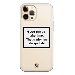 ELLECHIQ iPhone 12 siliconen hoesje - Good things take time