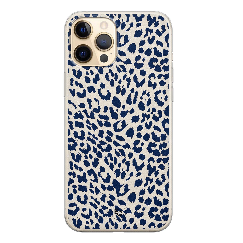 Telefoonhoesje Store iPhone 12 siliconen hoesje - Luipaard blauw