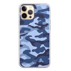 Telefoonhoesje Store iPhone 12 siliconen hoesje - Camouflage blauw