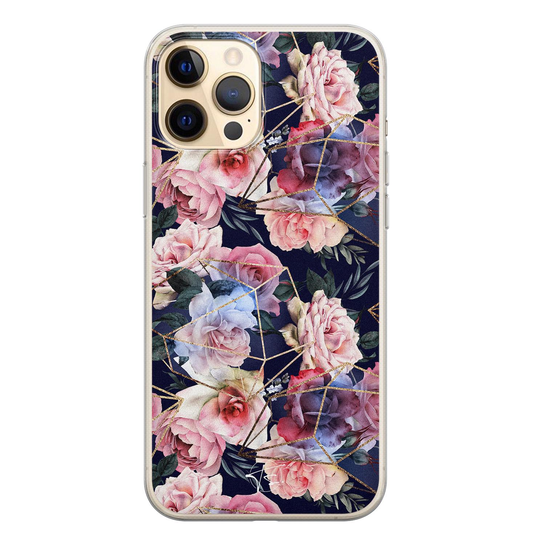 Telefoonhoesje Store iPhone 12 siliconen hoesje - Geometrisch bloemen